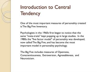Introduction to Central Tendency
