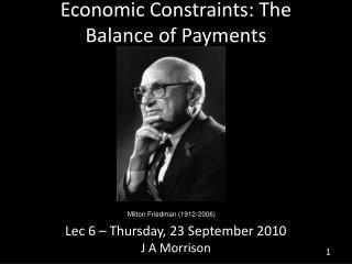 Economic Constraints: The Balance of Payments