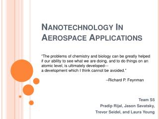 Nanotechnology In Aerospace Applications