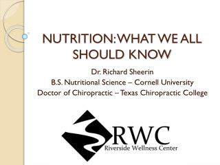 NUTRITION : WHAT WE ALL SHOULD KNOW