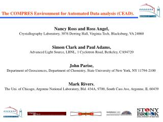 The COMPRES Environment for Automated Data analysis (CEAD).