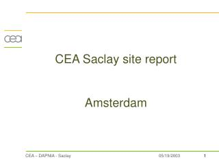 CEA Saclay site report Amsterdam