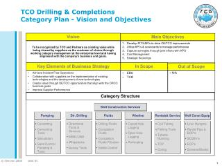 TCO Drilling & Completions  Category Plan - Vision and Objectives