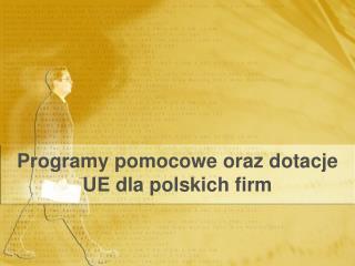 Programy pomocowe oraz dotacje UE dla polskich firm