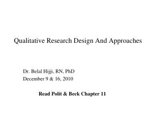 Qualitative Research Design And Approaches
