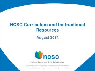 NCSC Curriculum and Instructional Resources
