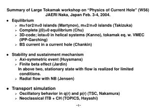 "Summary of Large Tokamak workshop on ""Physics of Current Hole"" (W56)"
