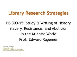 Library Research Strategies