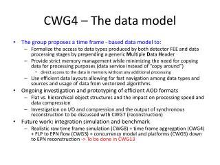 CWG4 – The data model