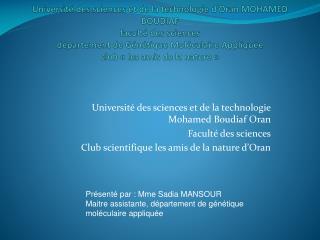 Université des sciences et de la technologie Mohamed Boudiaf Oran Faculté des sciences