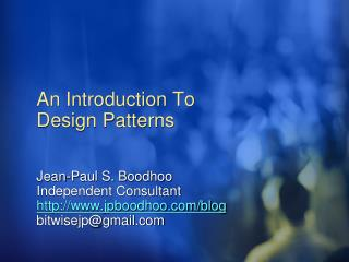 An Introduction To Design Patterns