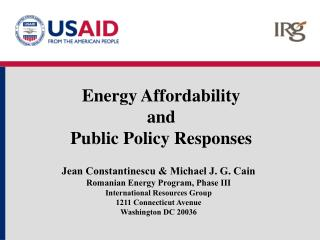 Energy Affordability  and  Public Policy Responses