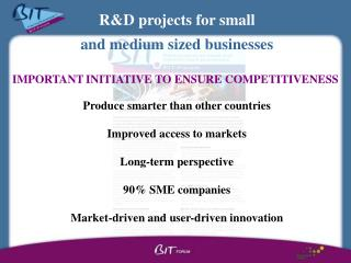 R&D projects for small  and medium sized businesses