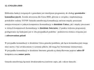 12. GNIAZDA BSD