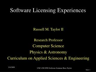 Software Licensing Experiences
