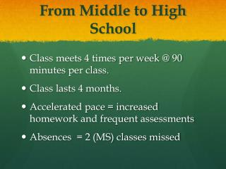 From Middle to High School