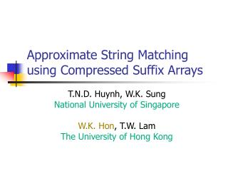 Approximate String Matching using Compressed Suffix Arrays
