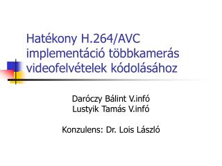 Hat ékony H.264/AVC implementáció többkamerás videofelvételek kódolásához