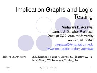 Implication Graphs and Logic Testing