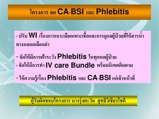 โครงการ ลด  CA - BSI  และ  Phlebitis