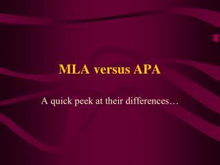 MLA versus APA