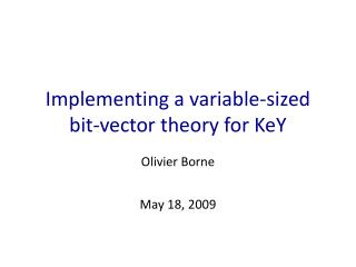 Implementing a variable-sized bit-vector theory for KeY