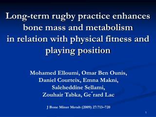Mohamed Elloumi, Omar Ben Ounis, Daniel Courteix, Emna Makni,  Saleheddine Sellami,