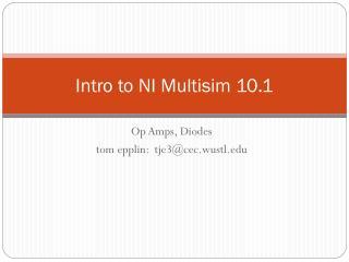 Intro to NI Multisim 10.1