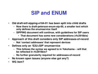 SIP and ENUM