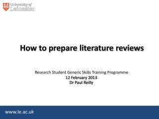 How to prepare literature reviews