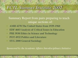FCTL Summer Institute 2002