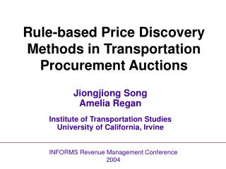 Rule-based Price Discovery Methods in Transportation Procurement Auctions