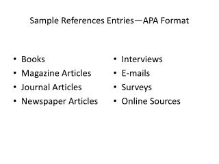 Sample References Entries—APA Format