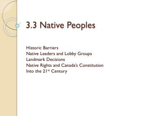 3.3 Native Peoples