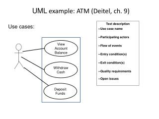 UML  example: ATM (Deitel, ch. 9)