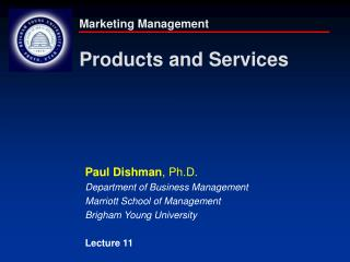 Marketing Management Products and Services