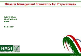 Disaster Management Framework for Preparedness