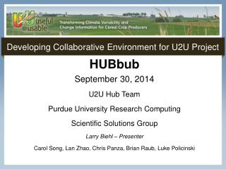 Developing Collaborative  Environment for  U2U Project
