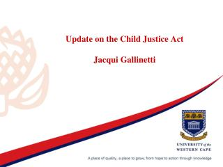 Update on the Child Justice Act  Jacqui Gallinetti