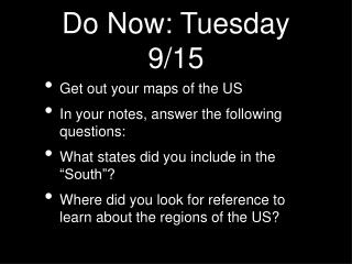 Do Now: Tuesday 9/15