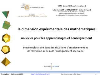 la dimension expérimentale des mathématiques un levier pour les apprentissages et l'enseignement