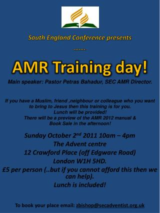 Sunday October 2 nd  2011 10am – 4pm The Advent centre 12 Crawford Place  (off  Edgware Road)
