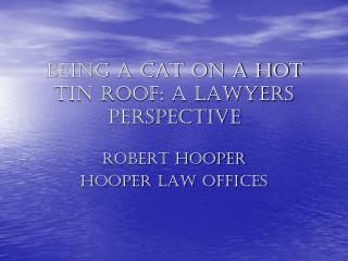 BEING A CAT ON A HOT TIN ROOF: A LAWYERS PERSPECTIVE