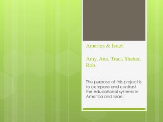 America & Israel  Amy, Ana, Traci,  Shahar , Rob