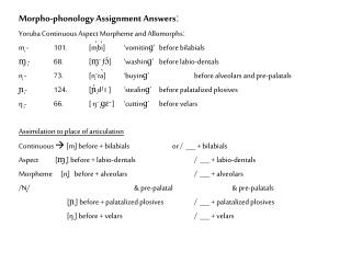 Morpho-phonology Assignment Answersː Yoruba Continuous Aspect Morpheme and Allomorphsː
