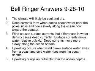 Bell Ringer Answers 9-28-10