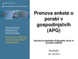 Prenova ankete o porabi v gospodinjstvih (APG)