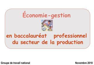 Économie-gestion en baccalauréat   professionnel  du secteur de la production