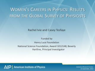 Women's Careers in Physics: Results from the Global Survey of Physicists