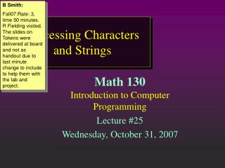 Processing Characters and Strings